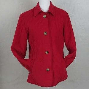 David Brooks Red Button Down Polyester Quilt Coat